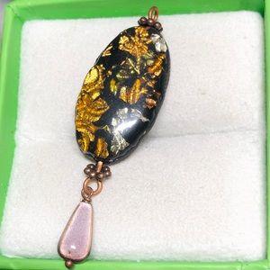 ✨Vintage Gold Foil Design Resin Pendant